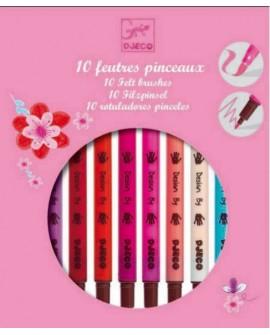 10 feutres pinceaux - rose