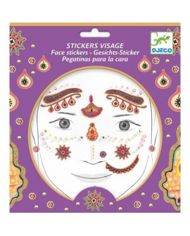 stickers visages - princesse india - DJECO
