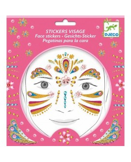stickers visages - princesse or - DJECO
