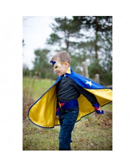 cape reversible super heros bleu-jaune