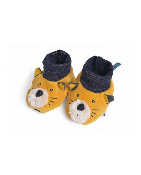 chaussons chat  moutarde Lulu - les moustaches