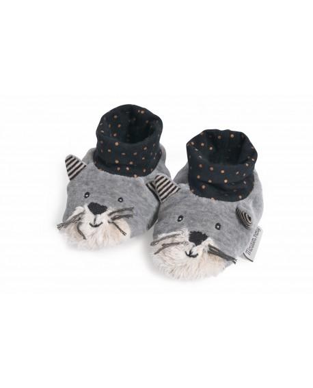 chaussons chat gris clair Fernand- les moustaches