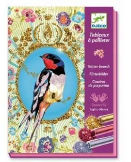 Tableaux à pailleter : oiseaux