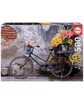 puzzle 500P bicyclette avec des fleurs