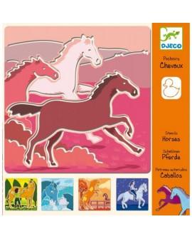 pochoir chevaux