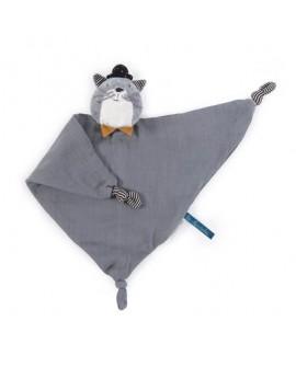 Doudou lange chat gris clair Fernand - les moustaches