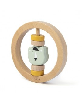 Wooden round rattle - Mr. Polar Bear
