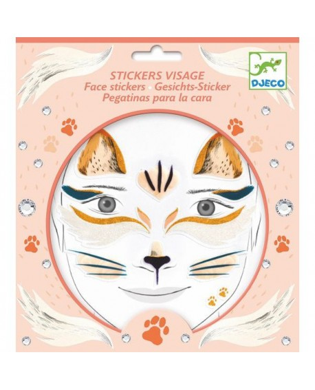 stickers visages - chat - DJECO