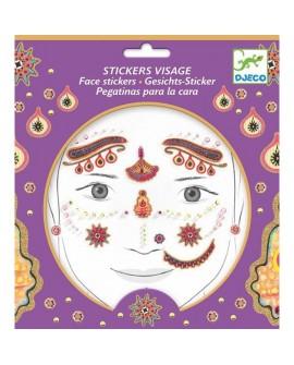 stickers visages - princesse india - DJECO