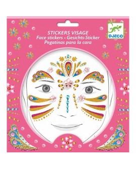 stickers visages - princesse or - DJECO